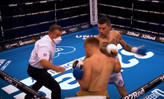 звучат звуки ударов боксерский бой проходит зрителей видео