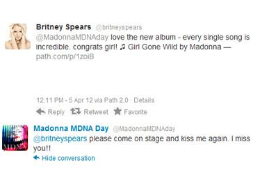 Переписка Мадонны и Бритни Спирс в Twitter
