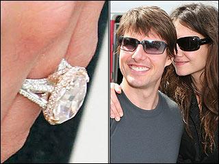 Возлюбленная Тома Круза Кэти Холмс с гордостью носит бриллиант классической овальной формы в 5 карат.