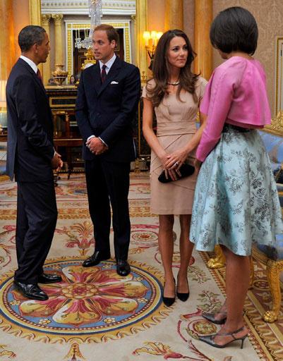 Принц Уильям, Кейт Миддлтон, Барак и Мишель Обама в Букингемском дворце