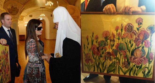 Диана Гурцкая вручила патриарху Кириллу картину от пермских детей