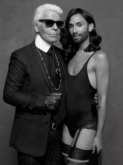 Карл Лагерфельд и Кончита Вурст в модной съемке