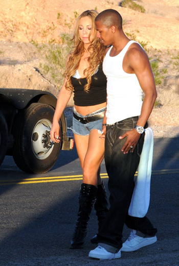 Мэрайя и ее супруг Ник Кэннон на съемках клипа «Stay in Love»