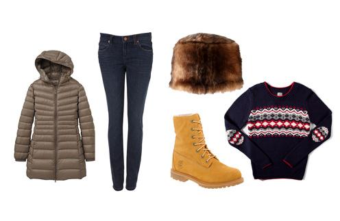 Пуховик Uniqlo, джинсы TopShop, шапка из искусственного меха Asos, ботинки timberland, свитер Pull & Bear