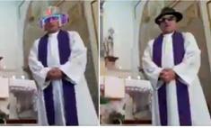 Священник решил провести мессу в прямом эфире, но случайно включил сразу несколько фильтров (видео)