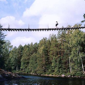 В настоящее приключение может превратиться прогулка по 50-метровому мосту в финском национальном парке Реповеси. Мост весьма ощутимо покачивается и поскрипывает, когда проходишь по нему.