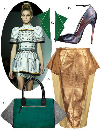 1. Mary Katrantzou; 2. туфли Miss Selfridge; 3. юбка River Island; 4. сумка H&M; 5. серьги Asos