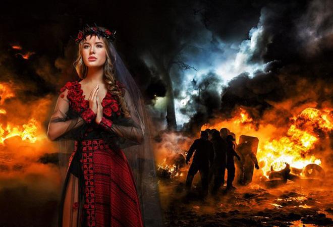 Мисс вселенная 2014, участница из Украины, платье Невеста войны фото