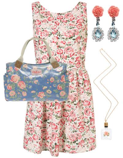 Платье TopShop, сумка Cath Kidson, серьги Prada, подвеска Gogo Philip