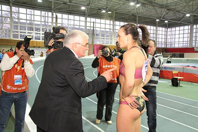 Исинбаева со своим тренером