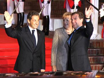 Николя Саркози (Nicolas Sarkozy), Ангела Меркель (Angela Merkel) и Дмитрий Медведев