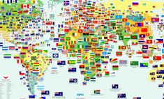 карта самые похожие флаги странах мира