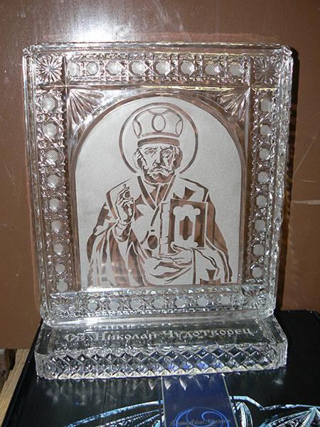 хрустальная икона Николая Чудотворца