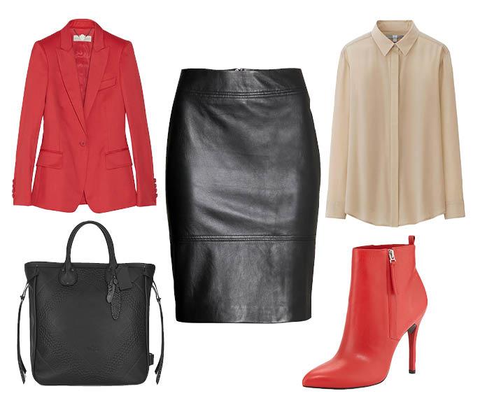 Выбор ELLE: блейзер Stella McCartney, блуза Uniqlo, ботильоны Pour La Victoire, сумка Coach