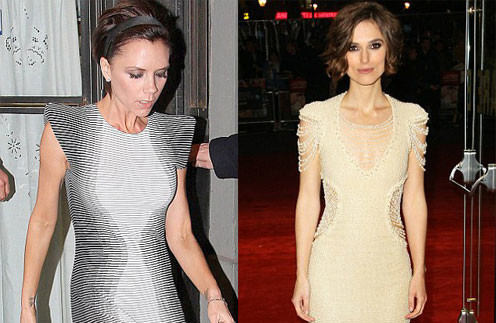 Виктория Бекхэм (Victoria Beckham) и Кира Найтли (Keira Knightley) оценили достоинства платья со вставками