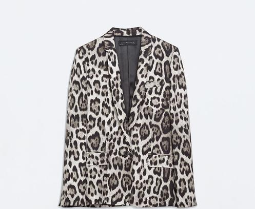 Прямой жакет с леопардовым принтом