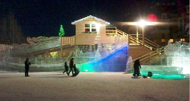 Парк превратился в сказочный ледовый мир
