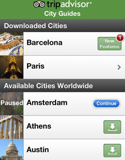 Приложение TripAdvisor City Guides