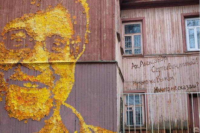 Портрет Шевчука из листьев