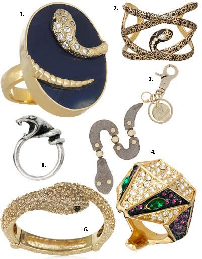 1. Кольцо Isharya; 2. браслет Isharya; 3. брелок для ключей See by Chloé; 4. кольцо The Ring Boutique; 5. браслет Roberto Cavalli; 6. кольцо Afends
