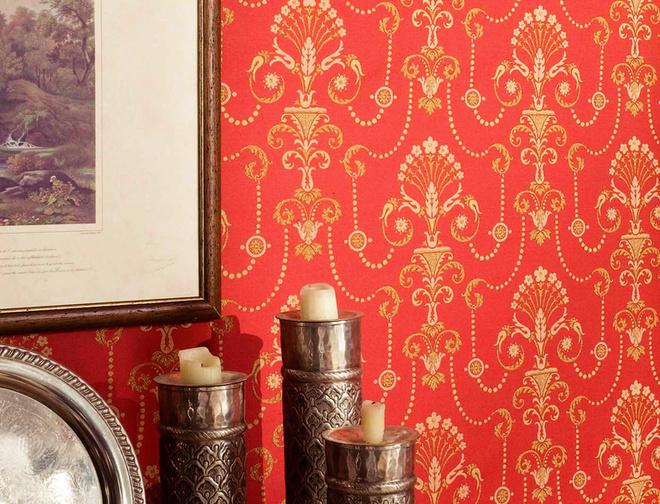 Традиционный узор для текстильных обоев – медальоны. Линия Ekaterina (Sangiorgio, Италия)