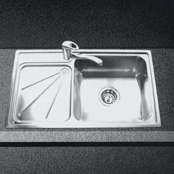 Недорогие модели стальных моек, как, например, эта, производства компании Tree (Китай), снабжены одной чашей и крылом для сушки посуды