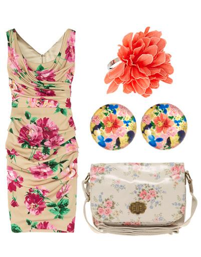 Платье Dolce & Gabbana, кольцо и серьги Pieces, сумка Cath Kidson
