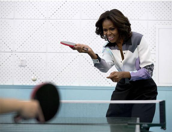 Обама сыграла в пинг-понг