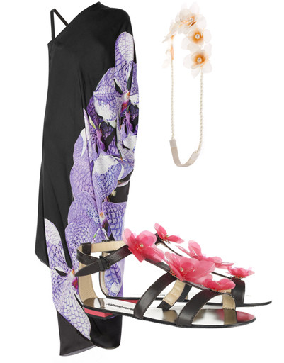 Платье Roberto Cavalli и сандалии Roberto Cavalli, украшение на голову Asos