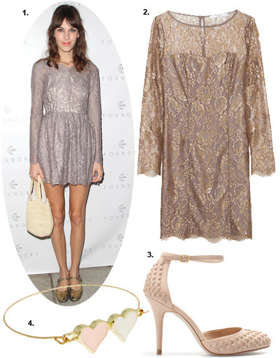 1. Алекса Чанг (Alexa Chung); 2. платье BGN; 3. туфли Zara; 4. браслет Asos