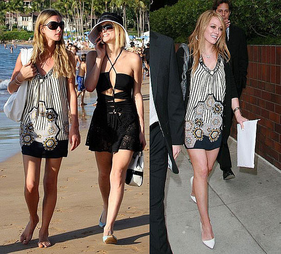 Ники надела легкое платье от Nikka для прогулки по побережью с сестрой Пэрис. Хилари Дафф надела такое же платье, отправившись по магазинам. Белые лодочки освежают ее образ, однако, серая сумка здесь неуместна.