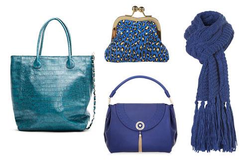 По часовой стрелке: сумка-шопер Mango, кошелек TopShop, шарф TopShop, сумка Versace