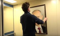 пранкеры повесили портрет путина лифте сняли камеру реакцию