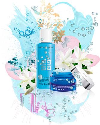 Hydra Sparkling, Givenchy, пудра для умывания One-minute Glow Powder Daily Micropeeling и крем-маска Short Night Recovery Moisturizing Mask/Cream