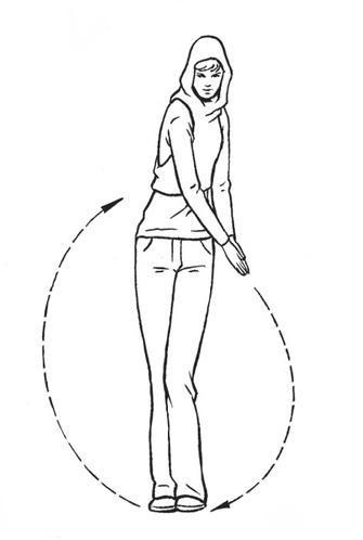 Согните в колене левую ногу. Соединенными ладонями начинайте круговое движение влево и вниз, наклоняясь, пока пальцы не коснутся пола (руки и ноги в этот момент выпрямлены и напряжены). Завершайте движение через правую сторону, сгибая правую ногу.