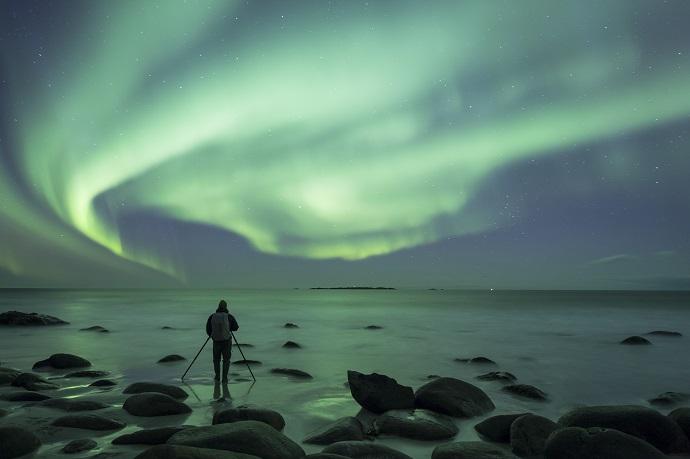 Селфи на фоне Северного сияния
