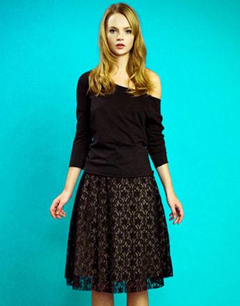 Трикотажный джемпер и кружевная юбка, Султана Французова, осень-зима 2011 - 2012