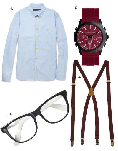 1. Рубашка Marc by Marc Jacobs; 2. часы Red Herring for DEBENHAMS; 3. подтяжки Topshop; 4. оправа Topshop