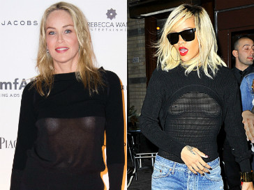 Шэрон Стоун (Sharon Stone) и Рианна (Rihanna) не против продемонстрировать обнаженную грудь