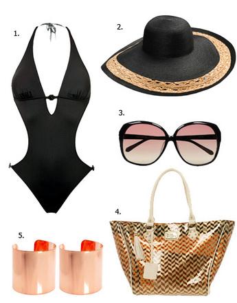 1. Монокини Calvin Klein Swimwear; 2. шляпа Zara; 3. очки Linda Farrow Luxe; 4. сумка Paul's Boutique; 5. браслеты Asos