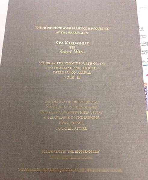 Приглашение на свадьбу Ким и Канье