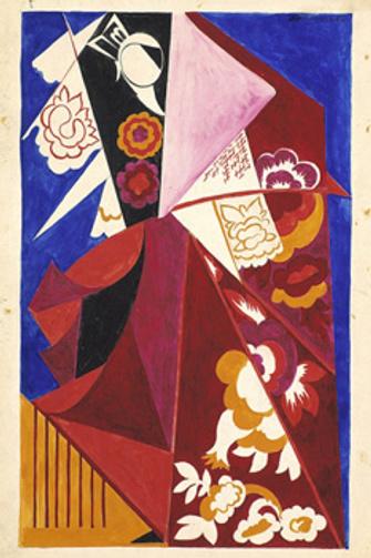 Наталия Гончарова. Испанский костюм.1919 Бумага верже, гуашь, графитный карандаш. 49,2x30,8. Третьяковская галерея