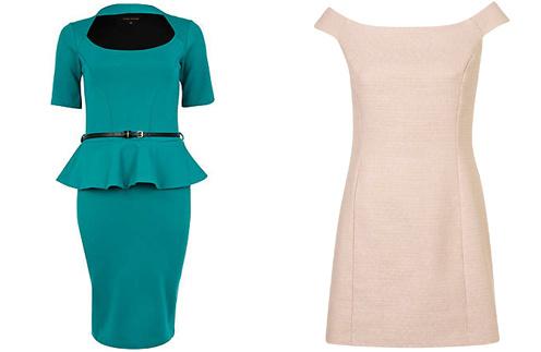 Платье с баской River Island, розовое платье TopShop