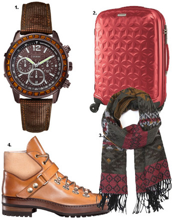 1. Часы Guess; 2. чемодан на колесах Samsonite; 3. шарф Mango; 4. ботинки Santoni