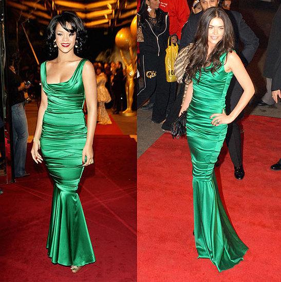 Рианна и Кэти Ли Джоэл выбрали платье Dolce&Gabbana для красной дорожки. Рианну оно слегка полнит в бедрах, в то время как Кэти Ли стала похожа на русалку, только что вынырнувшую из морских глубин.