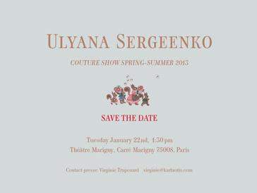 Ульяна Сергеенко покажет в Париже кутюрную коллекцию весна-лето 2013