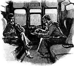 Доктор Ватсон (слева) и Шерлок Холмс в купе поезда. Иллюстрация Сиднея Паже к «Тайне Боскомской долины»