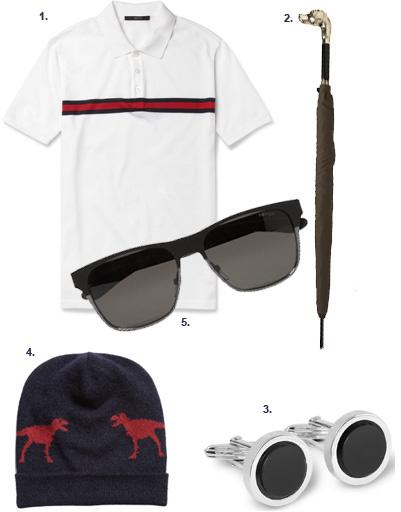 1. Поло Gucci; 2. зонт Burberry Prorsum; 3. запонки Lanvin; 4. шапка Jil Sander; 5. солнцезащитные очки Yves Saint Laurent