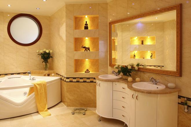 Интерьер маленькой ванной комнаты, фото