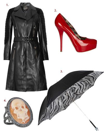 1. Плащ Versace; 2. туфли Dolce & Gabbana; 3. зонт Pasotti; 4. кольцо Amedeo